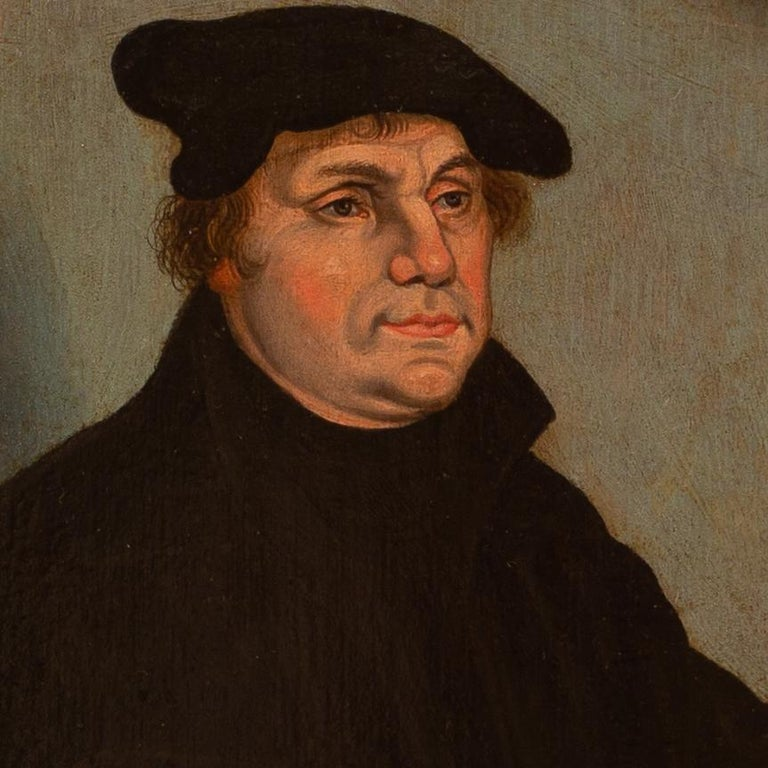 Portrait of Martin Luther by a Follower of Lucas Cranach the Elder, Oil on Panel - Black Portrait Painting by Lucas Cranach the Elder
