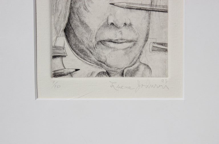 Abstract Self Portrait Copper Plate Etching #1 of 10 - Gray Figurative Print by Lucas Johnson