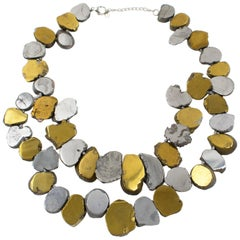 Lucas Lameth Brutalist Marble and Metal Multi-Strand Necklace