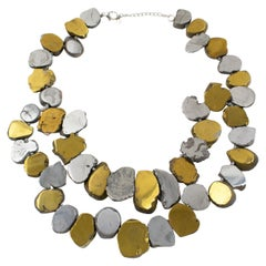 Lucas Lameth Brutalist Marble Stone and Gilt Silver Metal Multi-Strand Necklace