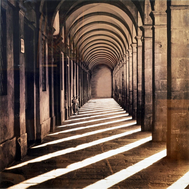 This large Sepia tone photograph from Lucca in Tuscany, Italy, measures 42 x 42 inches framed (image size 37 x 37 in.) and is a C type Lambda chromogenic photo print on Fuji Crystal Archive photo paper. It is part of a limited edition of 195.