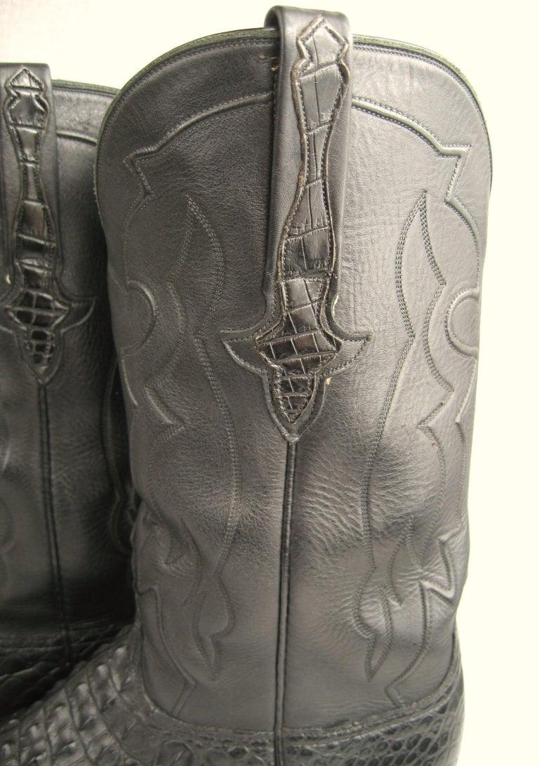 Lucchese Cowboy boots Handmade Horned Back Alligator - Black 10 D  For Sale 6