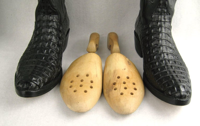 Lucchese Cowboy boots Handmade Horned Back Alligator - Black 10 D  For Sale 9