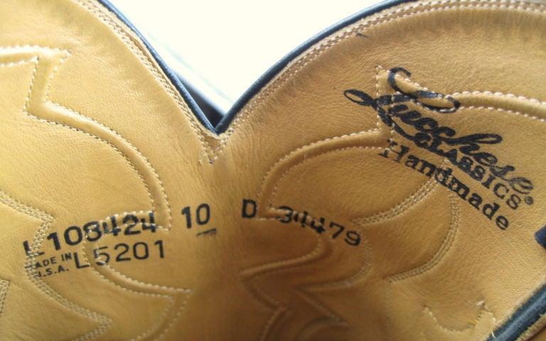 Lucchese Cowboy boots Handmade Horned Back Alligator - Black 10 D  For Sale 11