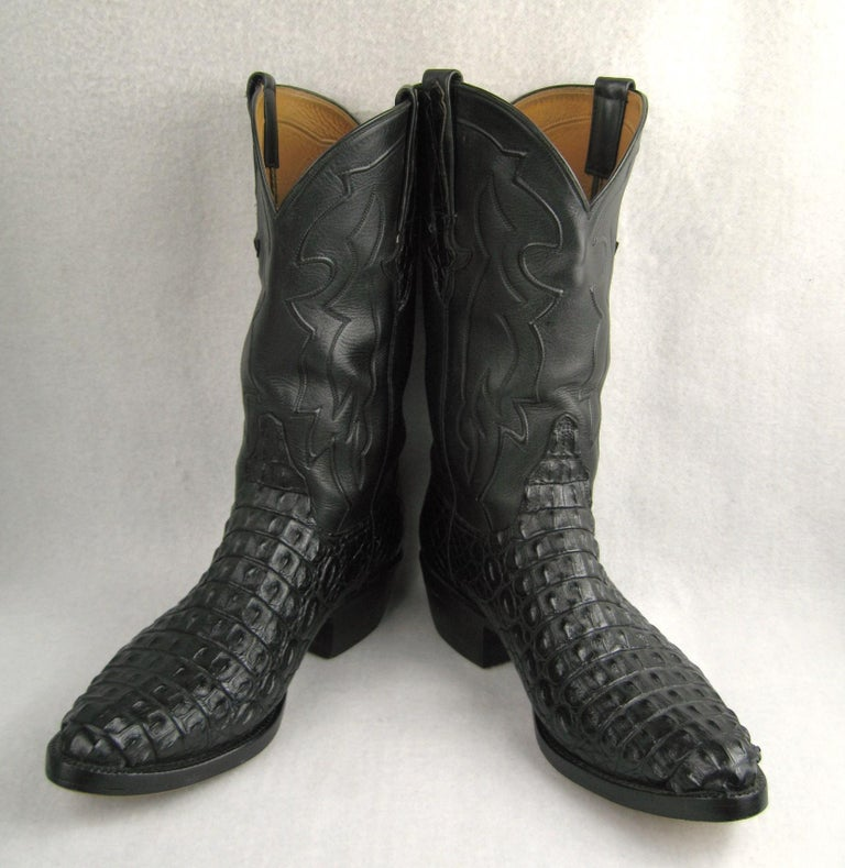 Lucchese Cowboy boots Handmade Horned Back Alligator - Black 10 D  In Good Condition For Sale In Wallkill, NY