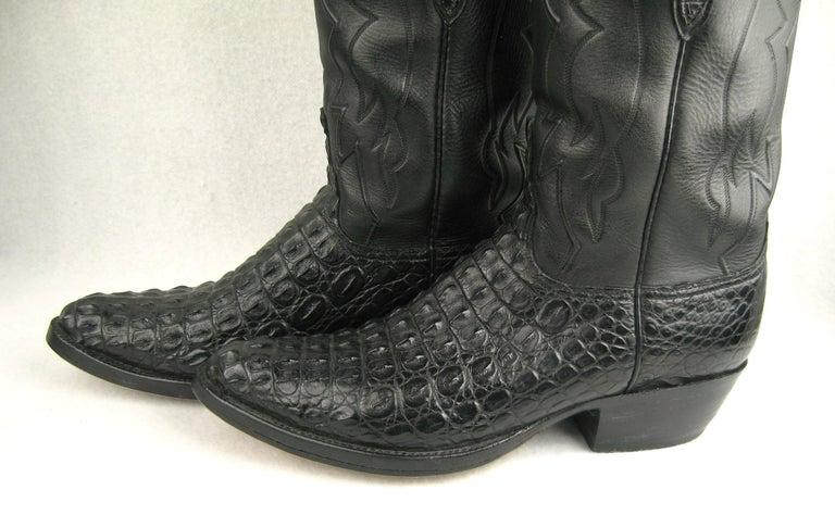 Women's or Men's Lucchese Cowboy boots Handmade Horned Back Alligator - Black 10 D  For Sale