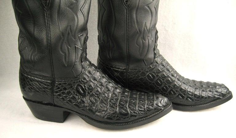 Lucchese Cowboy boots Handmade Horned Back Alligator - Black 10 D  For Sale 1