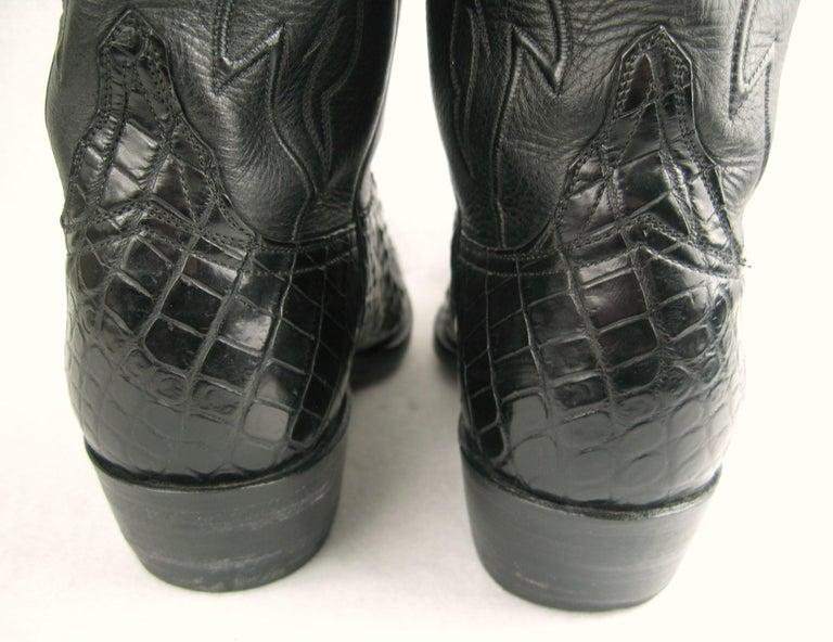 Lucchese Cowboy boots Handmade Horned Back Alligator - Black 10 D  For Sale 2