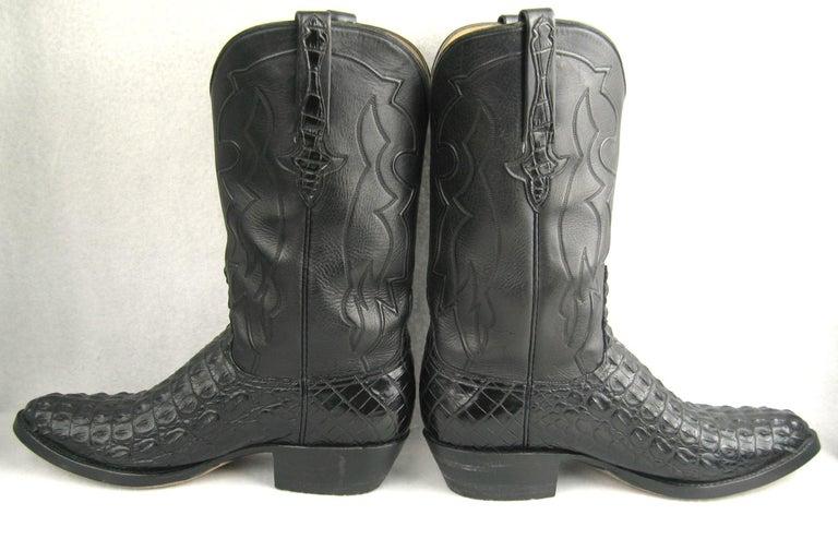 Lucchese Cowboy boots Handmade Horned Back Alligator - Black 10 D  For Sale 4