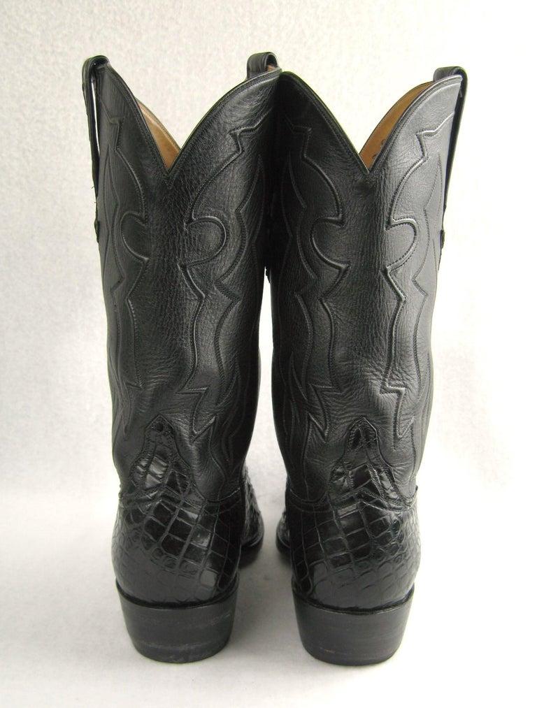 Lucchese Cowboy boots Handmade Horned Back Alligator - Black 10 D  For Sale 5