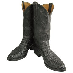 Lucchese Cowboy boots Handmade Horned Back Alligator - Black 10 D
