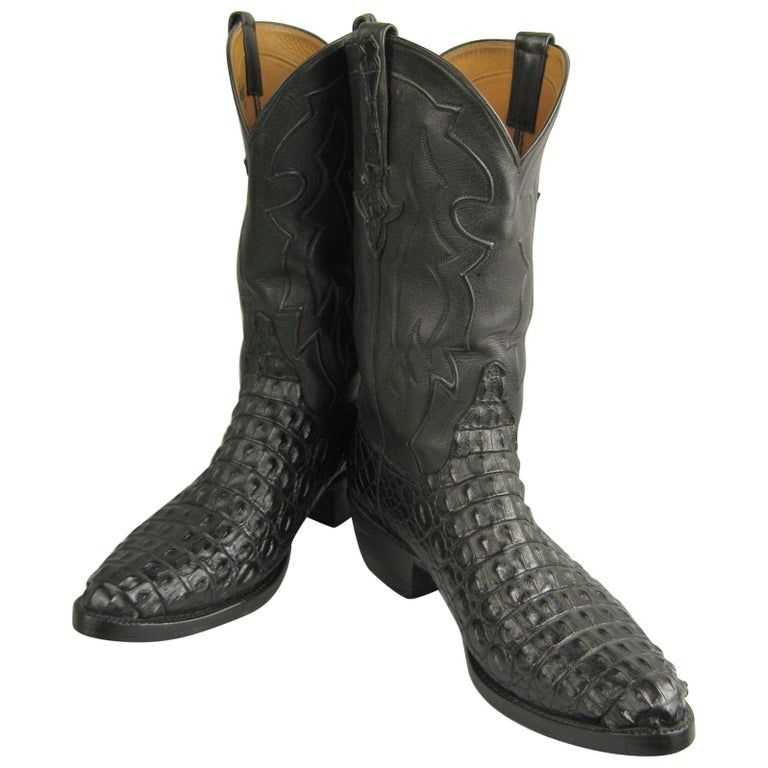 Lucchese Cowboy boots Handmade Horned Back Alligator - Black 10 D  For Sale
