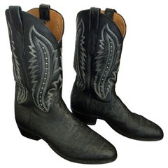Lucchese Exotic Elephant Handmade Black 10.5 D Mens Western Cowboy Boots