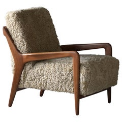 Lucchini & Lissone, Lounge Chair, Stained Beech, Beige Sheepskin, Italy, 1950s