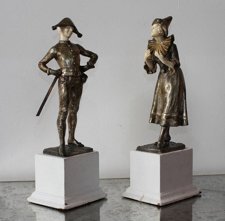 French LUCE  Harlequin & Columbine Bronze 1920 For Sale