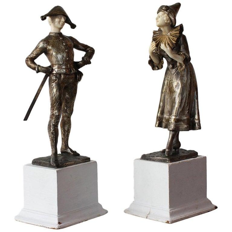 LUCE  Harlequin & Columbine Bronze 1920 For Sale