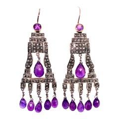 Lucea New York Amethyst and Diamond Chandelier Earring