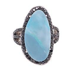 Lucea New York Australian Opal Ring with Black Diamonds Accent