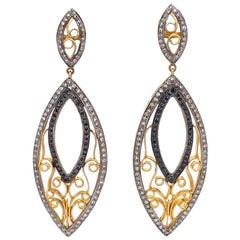 Lucea New York Black and Rustic Diamond Swirl Drop Earrings