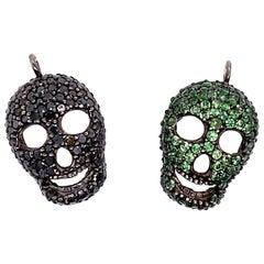 Lucea New York Black Diamond and Tsavorite Garnet Skull Pendant Set of Two