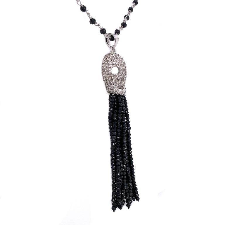Rustic Collection  White Diamond skull with black Spinel tassels on