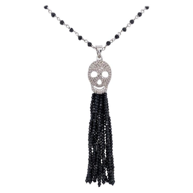 Lucea New York Black Spinel and Diamond Skull Tassel Necklace For Sale