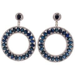 Lucea New York Blue Sapphire Drop Circle Earrings
