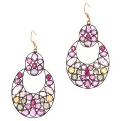 Lucea New York Multi-Color Sapphire Dangle Earrings