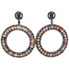 Lucea New York Multi-Color Sapphire Drop Circle Earrings
