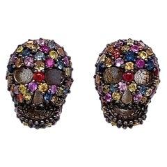 Lucea New York Multi-Color Sapphire Skull Stud Earrings