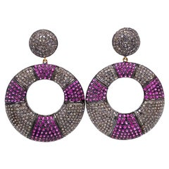 Lucea New York Ruby and Diamond Circle Drop Earrings