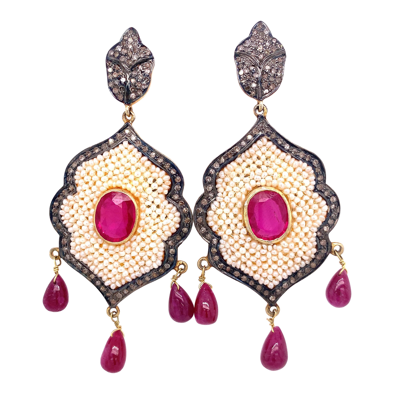 Lucea New York Ruby, Diamond, and Pearl Chandelier Earrings