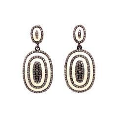Lucea New York Rustic Diamond and Enamel Dangle Earrings