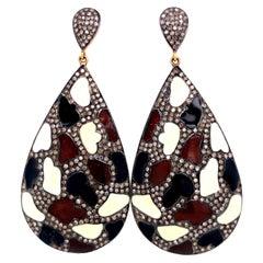 Lucea New York Rustic Diamond and Enamel Earrings