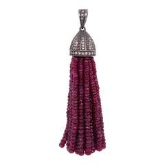 Lucea New York Rustic Diamond and Ruby Bead Tassel Pendant