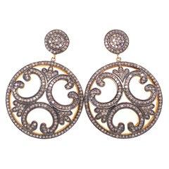 Lucea New York Rustic Diamond Disc Earrings