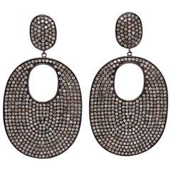 Lucea New York Rustic Diamond Drop Disc Earrings