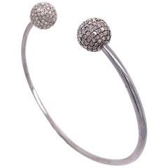 Lucea New York Rustic Diamonds Open Bangle Bracelet