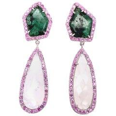 Lucea New York Slice Emerald and Moonstone Dangle Earrings