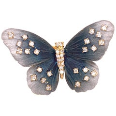 Lucea New York Tainted Gray Rhodium with Diamond Butterfly Ring