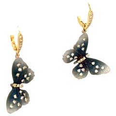Lucea New York Tainted Rhodium with Diamond Dangling Butterfly Earrings