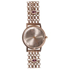 Luch Gold Plated Silver Diamond Tourmaline Vintage Chain Bracelet Wristwatch