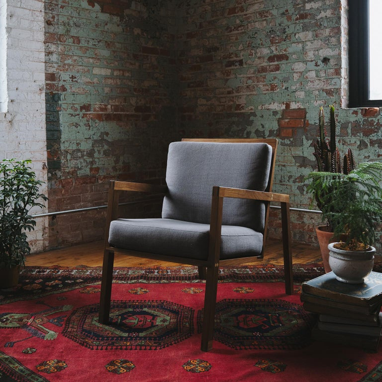 Luchtig Danish Style Linen Upholstered Lounge Chair With Walnut Frame In New Condition For Sale In Cambridge, Ontario