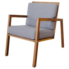 Luchtig Danish Style Linen Upholstered Lounge Chair With Walnut Frame
