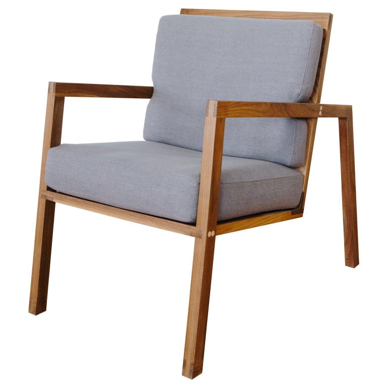 Luchtig Danish Style Linen Upholstered Lounge Chair With Walnut Frame For Sale