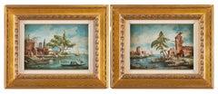 Pair of 20th century Venetian painting - Venice lagoon - Signed Oil on panel