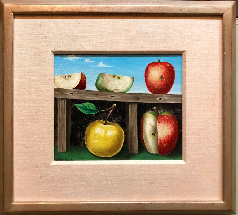 French Surrealist Trompe L'oeil Apples OIl Painting - Black Figurative Painting by Lucien Mathelin