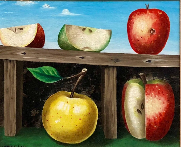 Lucien Mathelin Figurative Painting - French Surrealist Trompe L'oeil Apples OIl Painting