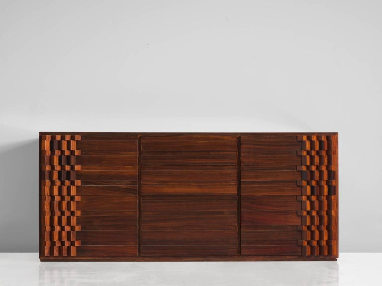 Post-Modern Luciana Frigerio Graphic Credenza in Rosewood For Sale
