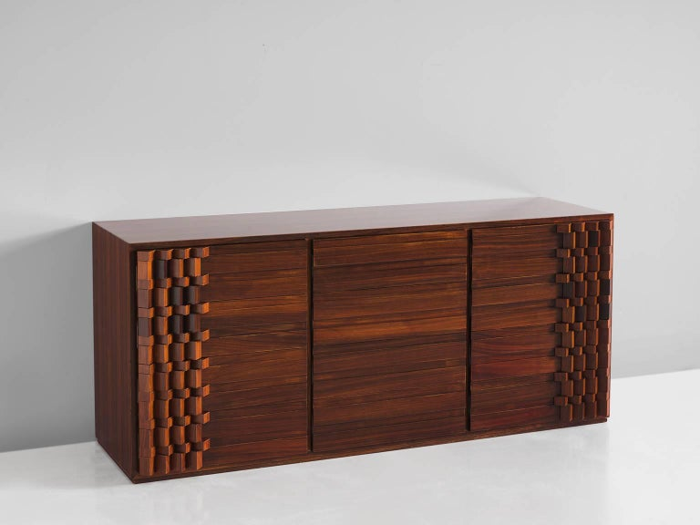 Italian Luciana Frigerio Graphic Credenza in Rosewood For Sale